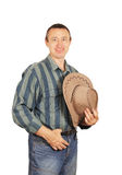 Man in a denim dress with cowboy hat Royalty Free Stock Image