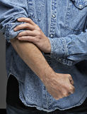 Man in denim shirt Stock Photography