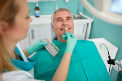 Man in dental chair with female dentist Royalty Free Stock Images