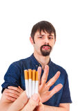 Man deny a Cigarettes. Isolated on the White Background royalty free stock photos