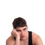 Man  depression  boring. Young man bored yawns depression isolated white background Royalty Free Stock Image