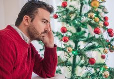 Man depression during christmas holiday and new year day royalty free stock photos