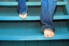 Man Descending Staircase Royalty Free Stock Images