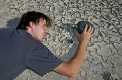 Man in desert. Thirsty man die in desert Stock Photo