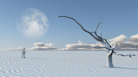 Man in desert with bare tree and moon stock illustration