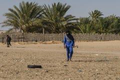 Man on desert. Berber  in oasis  on Sahara desert in Tunisia . Africa Royalty Free Stock Photo