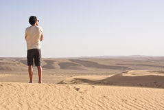 Man in the desert Royalty Free Stock Image