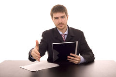Man on a desk. Business man shaking hand on a desk white isolate Royalty Free Stock Image