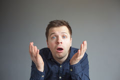 Man in despair opens mouth Royalty Free Stock Photos
