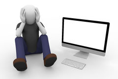 Man in despair sitting on the ground with computer Royalty Free Stock Photos