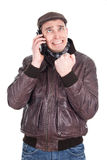 Man despair on the smartphone. Picture of a man despair on the smartphone Royalty Free Stock Images
