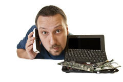 Man with destroyed computer contacts support Stock Images