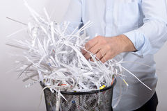 Man destroyed documents Stock Photography