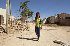 Man in destroyed village, Ethiopia Stock Photo