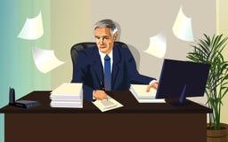 Man det officiella papperet för kontorsarbete royaltyfri illustrationer