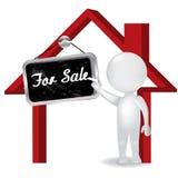 man det vita folket 3d att sälja en hussymbolslogo Royaltyfri Foto