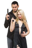 Man detective agent criminal and sexy spy woman Stock Photo