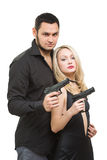 Man detective agent criminal and sexy spy woman Stock Photography