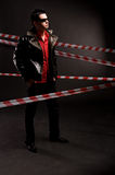Man-detective, crime scene Royalty Free Stock Photo