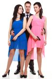 Man detective secret agent criminal with two women gun Royalty Free Stock Photo