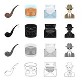 A man is a detective, a smoking pipe, a glass with alcohol, a mail envelope. Detective and Agent set collection icons in. Cartoon black monochrome outline style Royalty Free Stock Image