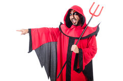 Man devil. In red costume royalty free stock photography