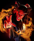 Man diablo. Portrait of a devil with horns. Fantasy. Art project Royalty Free Stock Photos