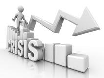 Man on diagram. Crisis Royalty Free Stock Image
