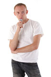 A man with a dictaphone isolated on white Stock Photography