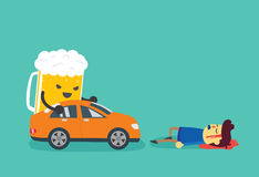 Man die after beer push a car crashed him Royalty Free Stock Photos
