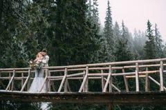Man die vrouw op houten brug in berg koesteren Royalty-vrije Stock Afbeeldingen