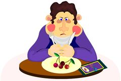 Man on diet. Fat man trying to keep diet Royalty Free Stock Images