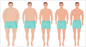 Man diet concept. Men slimming stage progress. Male before and after a diet. Royalty Free Stock Image