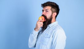 Man diet nutrition eats fruit. Healthy nutrition concept. Man handsome hipster with long beard eating apple. Hipster. Hungry bites juicy ripe apple. Fruit stock images