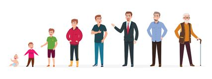 Man in different ages. Newborn boy teenager, adult man elderly person. Growth stages, people generation. Vector cartoon. Characters. Illustration of people royalty free illustration