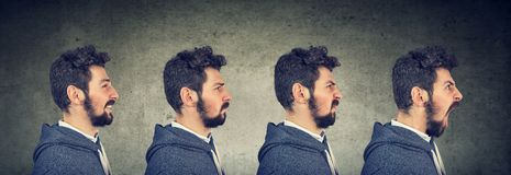 Man with different emotions and face expressions Stock Photo