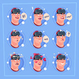 Man Different Face Male Emoji Wearing 3d Virtual Glasses Emotion Icon Avatar Facial Expression Concept. Vector Illustration Stock Image