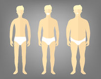 Man in a different forms, set of flat style illustrations. Handsome blonde man in white underwear with excess weight, in normal sh. Ape and with underweight Stock Image