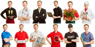 Man in different professions and positions. As a career choice concept Royalty Free Stock Photography