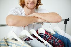 Man with different shirts Royalty Free Stock Photos