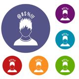 Man with different signs over his head icons set Royalty Free Stock Photo