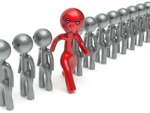 Man different stand out from the crowd individuality character. People red think differ unique person otherwise run to new opportunities concept referendum vote Stock Image