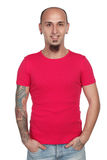 Man of different types posing in blank t-shirt Stock Photos