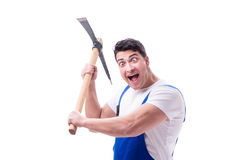 The man with a digging axe hoe on white background isolated Royalty Free Stock Image