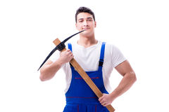 The man with a digging axe hoe on white background isolated Royalty Free Stock Images