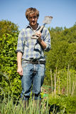 Man digging in vegetable garden. Man with a shovel in a vegetable garden on a sunny day Royalty Free Stock Photos