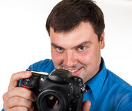 Man with a digital camera Royalty Free Stock Photography