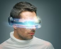 Man with digital glasses Stock Image