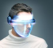 Man with digital glasses Stock Photography