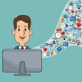 Man digital marketing web site social network. Vector illustration eps 10 Royalty Free Stock Photos